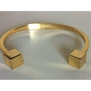 J.Crew Women Modern Open Cuff Bracelet Cube Gold
